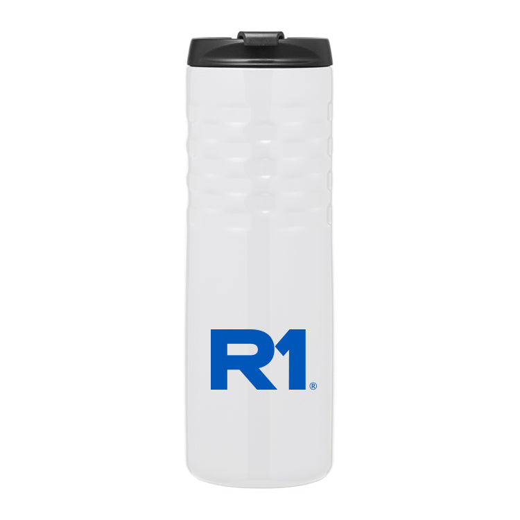 R1 18 oz Double Walled Stainless Steel Thermal Tumbler, Snap-fit lid