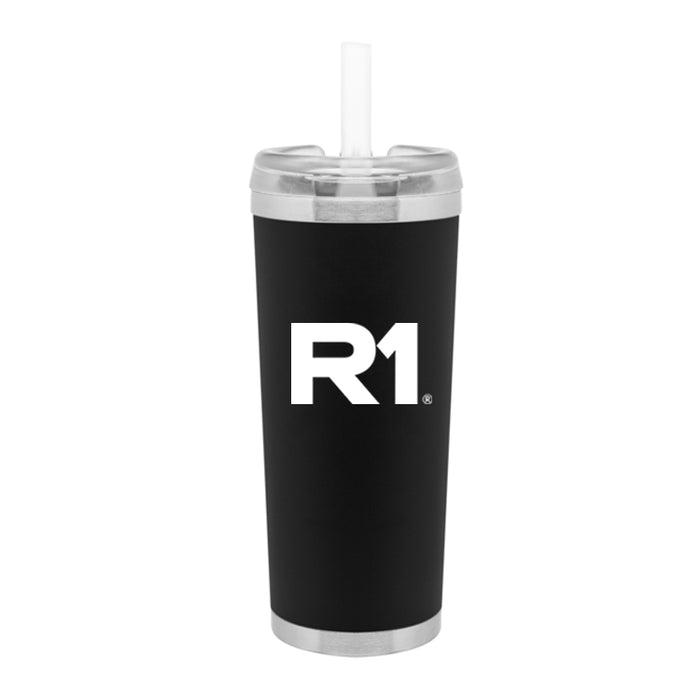 R1 24 oz Stainless Steel Thermal Tumbler with Silicone Straw
