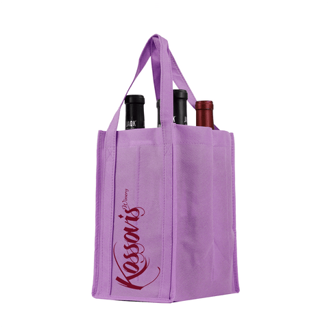 Four bottle Wine Tote, Reinforced Handles *Fully Customizable*