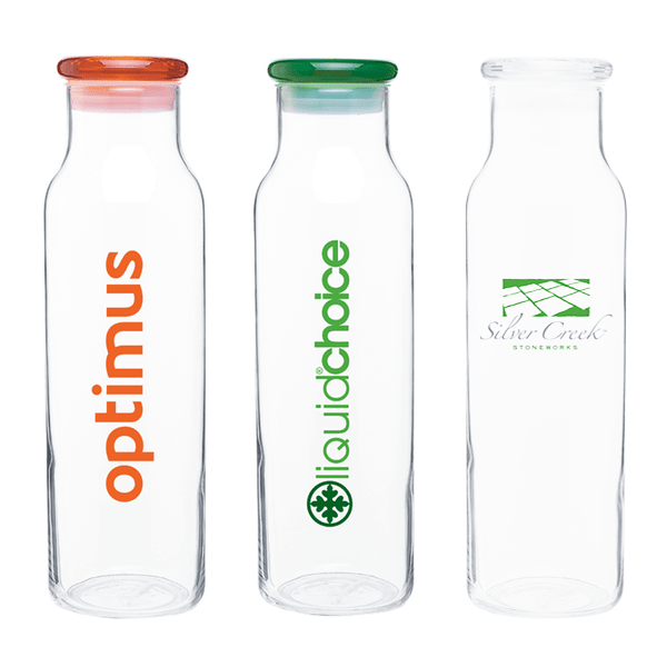 22 oz Glass with Colored Lid Vibe Water Bottles
