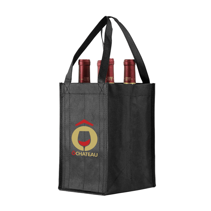 Four bottle Wine Tote, Reverse Reinforced Handles *Fully Customizable*,[wholesale],[Simply+Green Solutions]