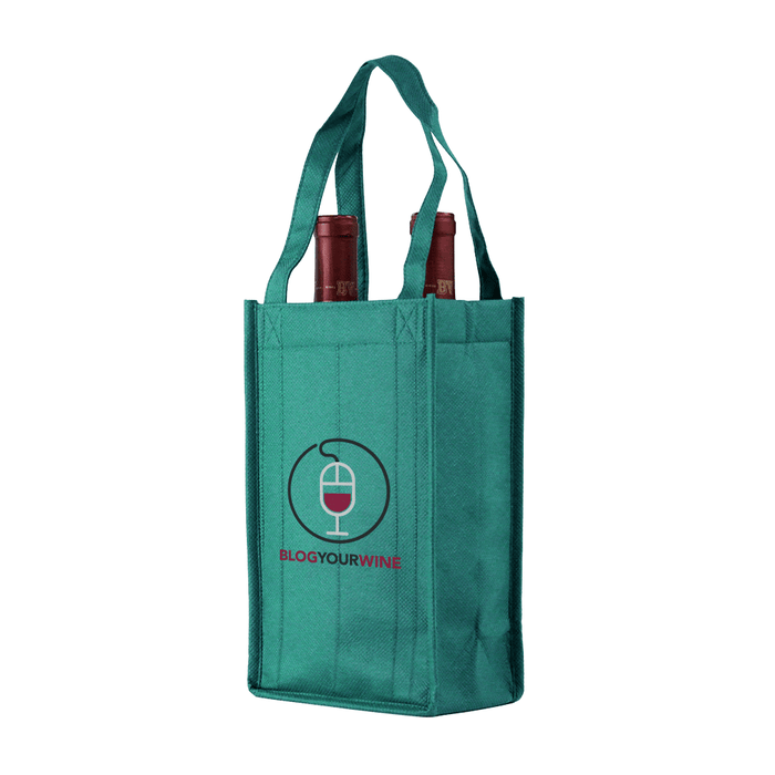 Two bottle Wine Tote, Reverse Reinforced Handles *Fully Customizable*,[wholesale],[Simply+Green Solutions]