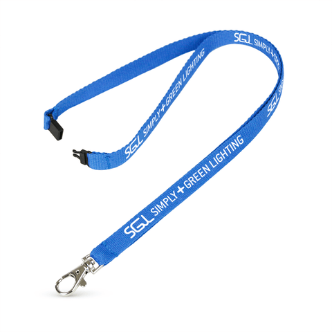 "1/2"" Silkscreened Flat Lanyard w/Sew on Breakaway"