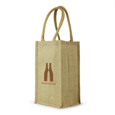 4 Bottle Jute Wine Bag with cotton webbed handles