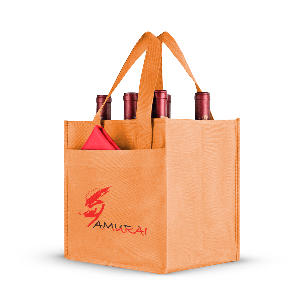 Six bottle Non-woven Wine Tote, Reinforced Handles with front pocket *Fully Customizable*,[wholesale],[Simply+Green Solutions]