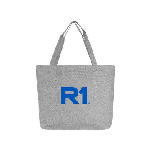 R1 Zippered Top Grey Tweed Cotton Tote