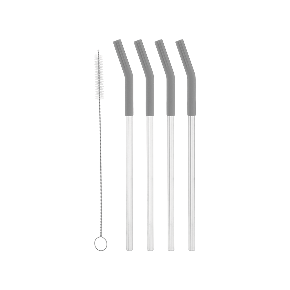 "10"" Silicone Tip Stainless Straw Set"