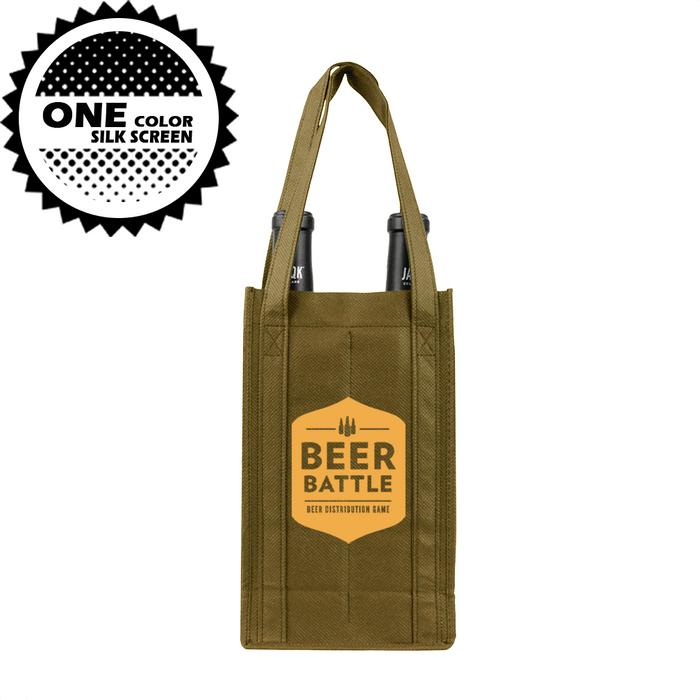 Two bottle Wine Tote, Reinforced Handles *Fully Customizable*,[wholesale],[Simply+Green Solutions]