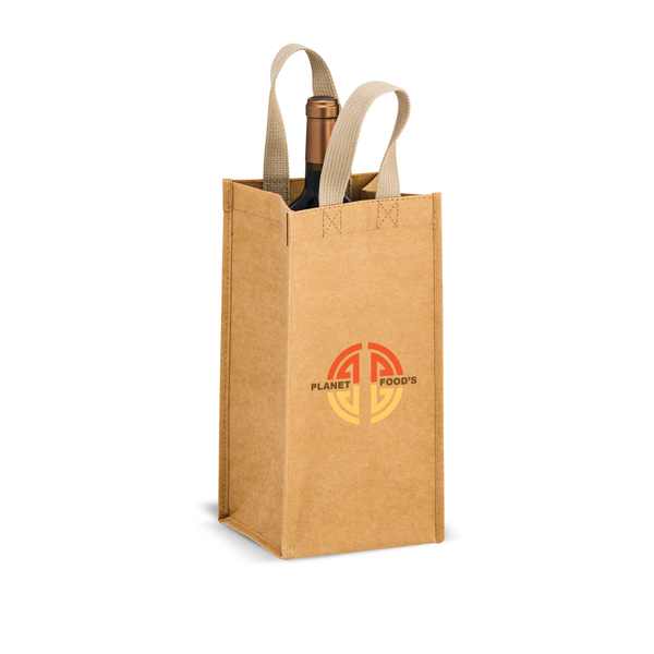 Single Wine Bottle Washable Kraft Paper Tote Bag,[wholesale],[Simply+Green Solutions]