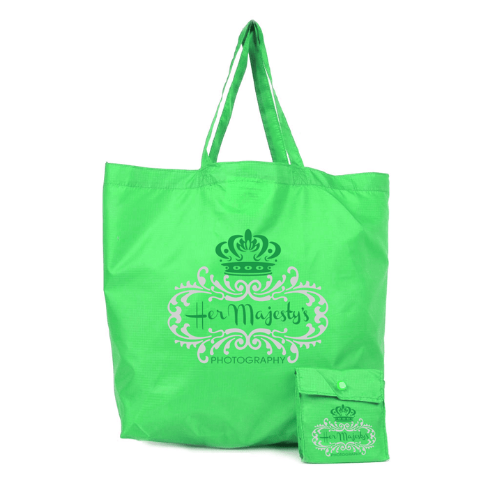 Polyester Compact Button Tote Attached *Fully Customizable* Bag Ban Approved,[wholesale],[Simply+Green Solutions]