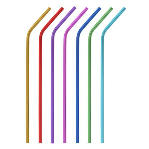 Single anodized aluminum straw - Bent (6mm)