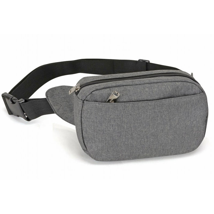 Heathered Three-Zippered Fanny Pack