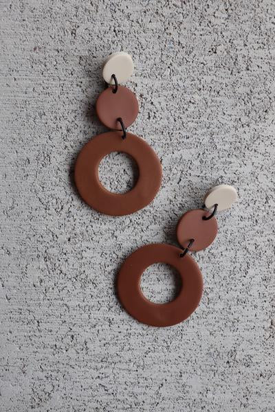 Rowan Earrings - Camel and Natural