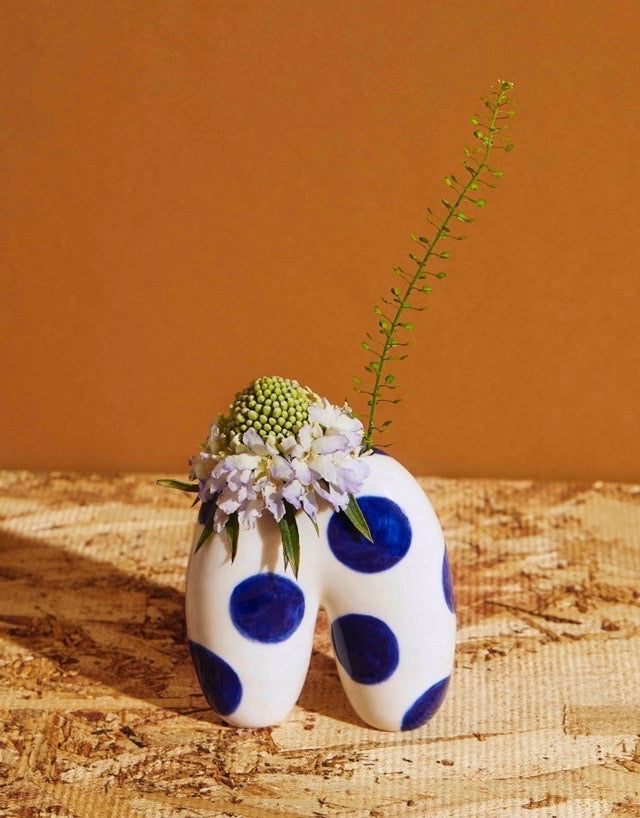 Kristen Lim-Tung blue polka-dot vases, assorted. Available at Easy Tiger Goods Toronto.