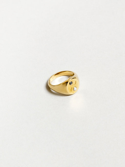 Wolf Circus Astra Ying-Yang Ring in Gold. Available at Easy Tiger Toronto.