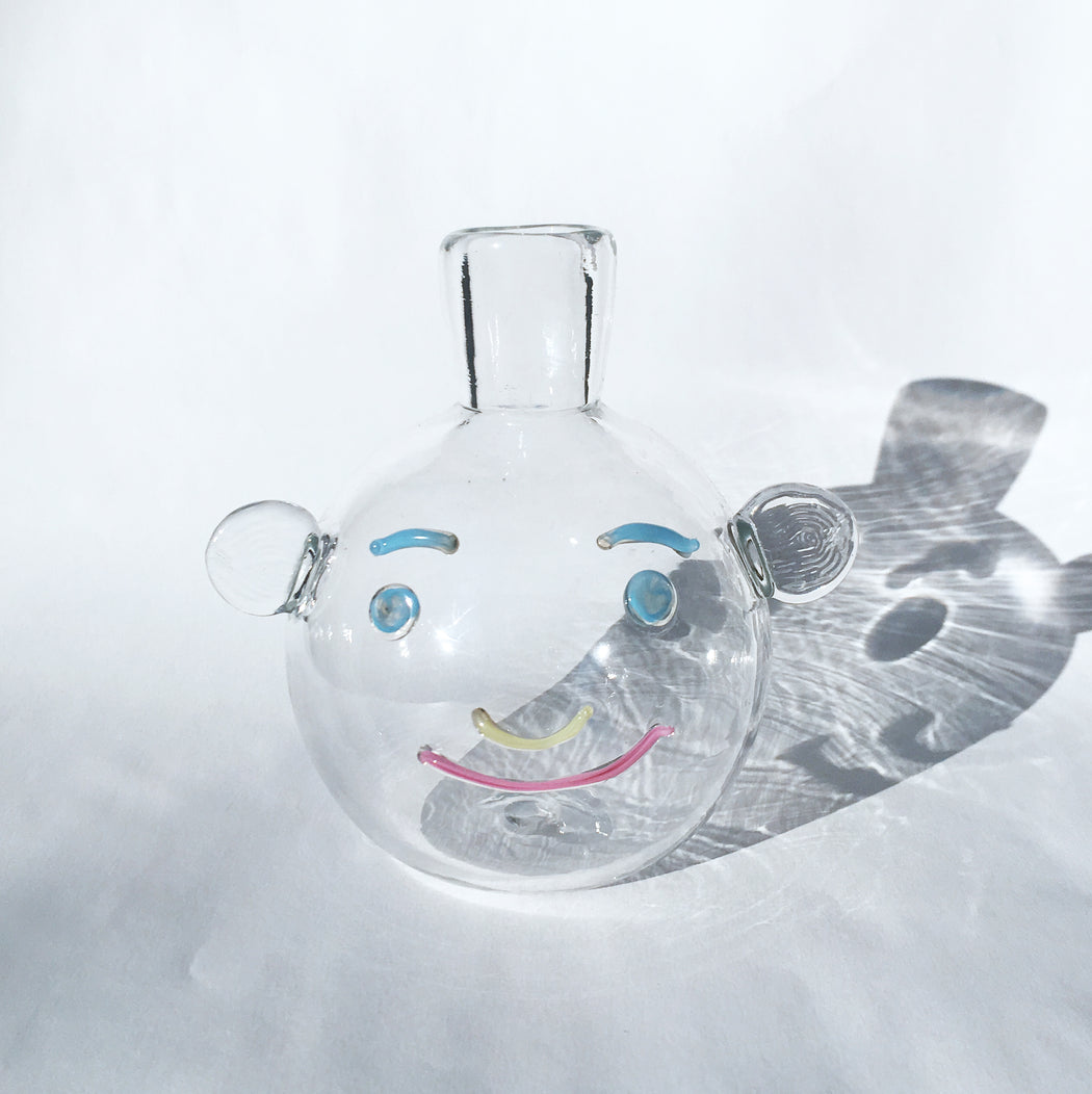 Clear Bubble Face Vase