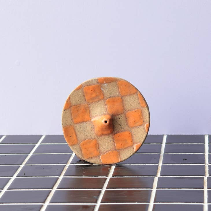 Checkerboard Incense Holder XL in Tangerine by Nightshift Ceramics. Available at Easy Tiger Goods Toronto.