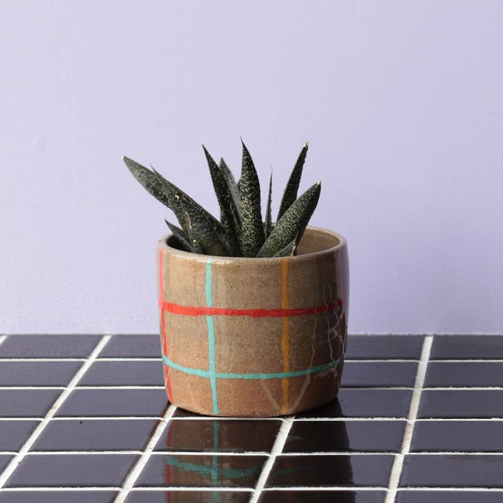 Multi-coloured Grid Planter by Nightshift Ceramics. Available at Easy Tiger Goods Toronto.