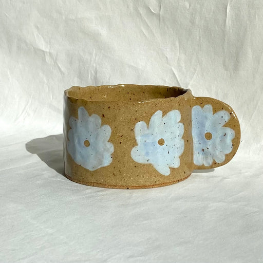 Half-Moon Handle Flower Mug - Baby Blue