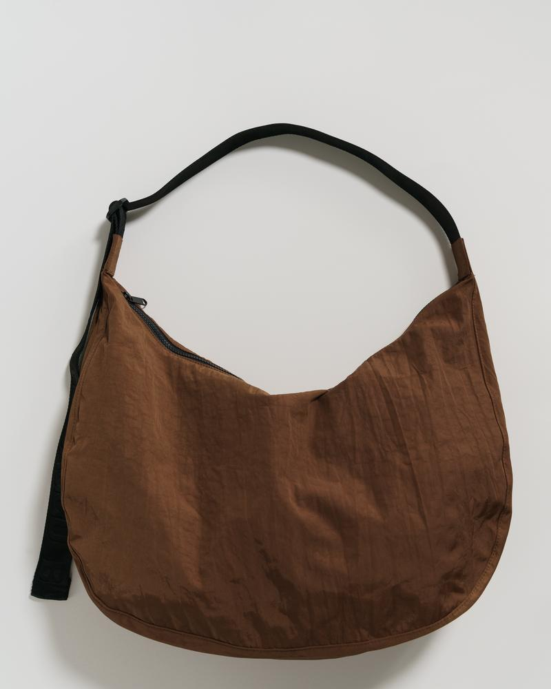 Baggu Large Nylon Crescent Bag in Brown. Available at Easy Tiger Goods Toronto.