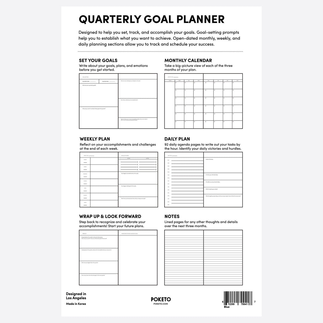 Poketo Quarterly Goal Planner inner page example. Available at Easy Tiger Toronto.