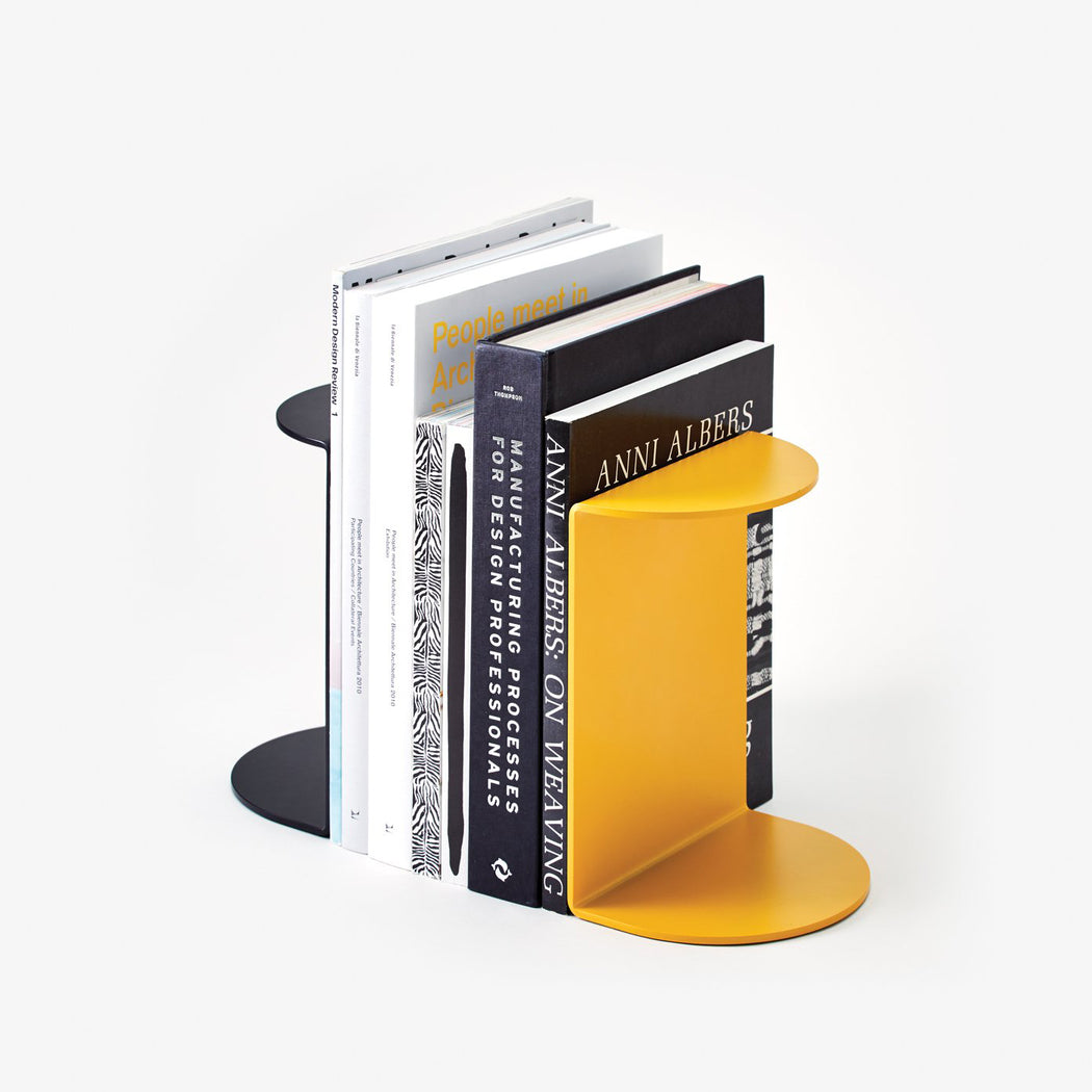 Areawear Reference Book Ends, yellow & black. Available at Easy Tiger Goods Toronto.