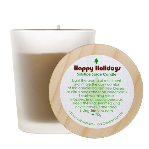 Living Libations Happy Holidays Spice beeswax Candle. Available at Easy Tiger Toronto.