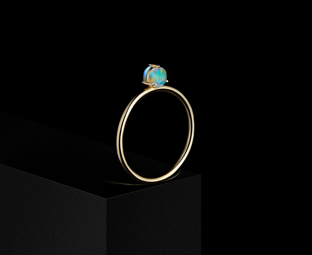Double-Sided Solitaire Ring w/ 4mm Opals