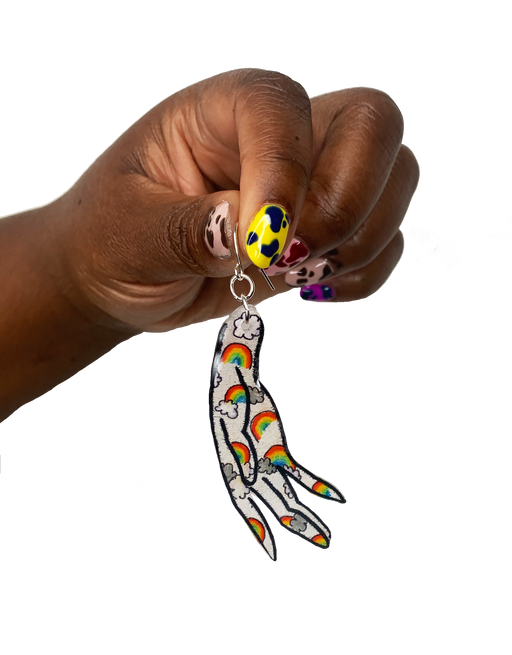 FAISAIT single hand earring in Double Rainbow. In collaboration with nail art designs by Fair Main.