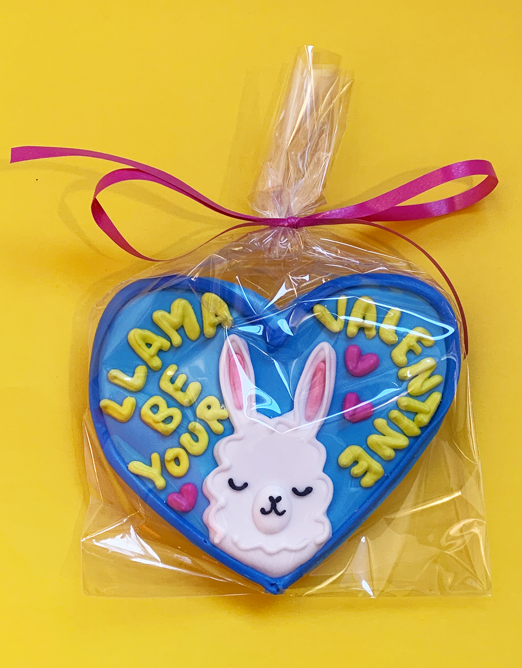 "Lindsay Gazel V-day 2021 ""Llama be your Valentine"" heart shaped cookie. Available at Easy Tiger Toronto."