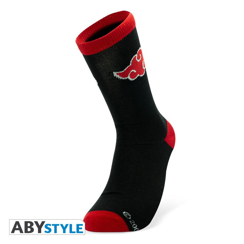 Akatsuki Logo Design Naruto Shippuden Licensed Black & Red Unisex One Size Fits All Crew Socks (One Pair)