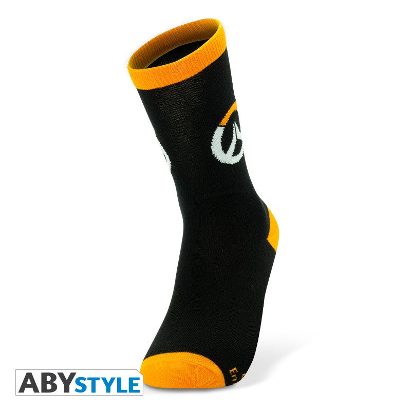 Overwatch Logo Design Blizzard Licensed Black & Orange Unisex One Size Fits All Crew Socks (One Pair)