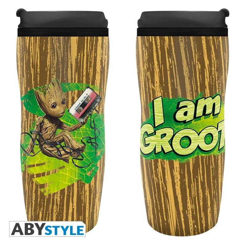 "Guardian of the Galaxy's Toddler Groot ""I am Groot"" Design Marvel Licensed Brown 0.35 L Insulating Plastic Travel Mug/Tumbler"