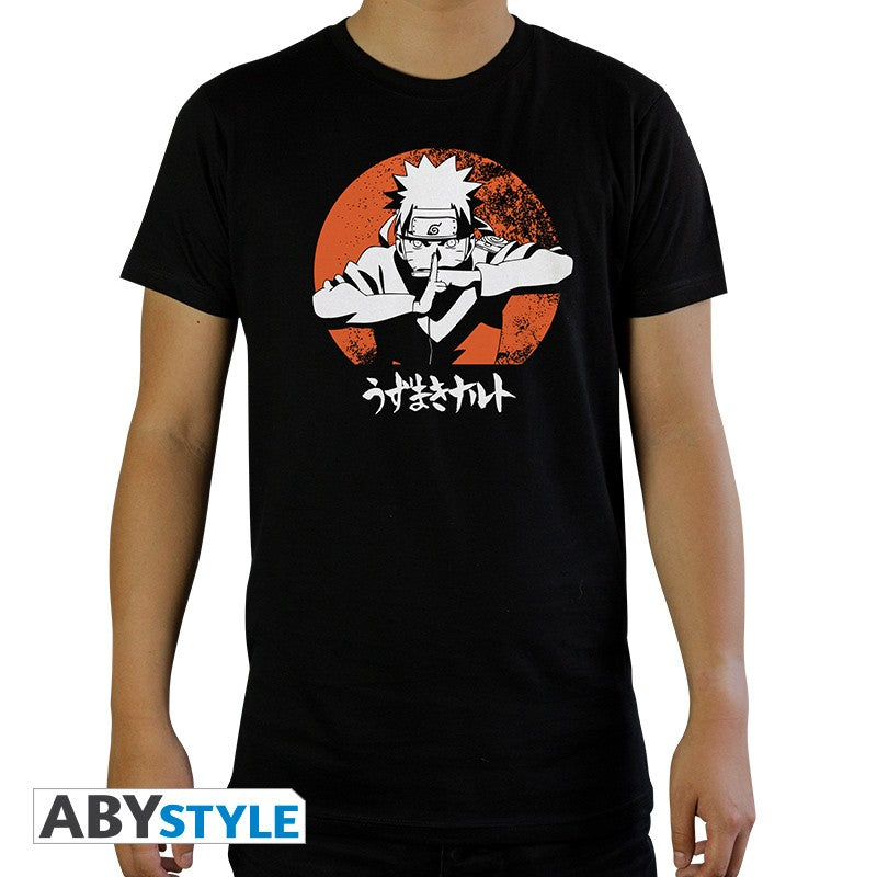 Naruto Shadow Clone Jutsu/Kage Bunshin no Jutsu Design Licensed Naruto Shippuden Black T-Shirt for Men