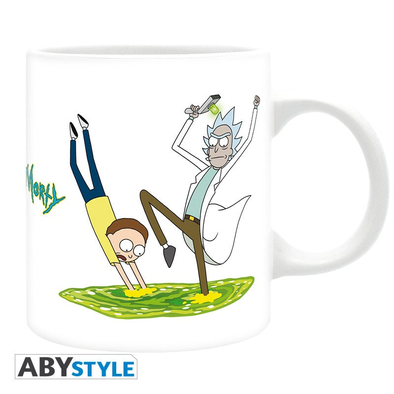 Rick and Morty Green Portal Dive and Fall Design Adult Swim Licensed White 320 ml High Quality Ceramic Mug