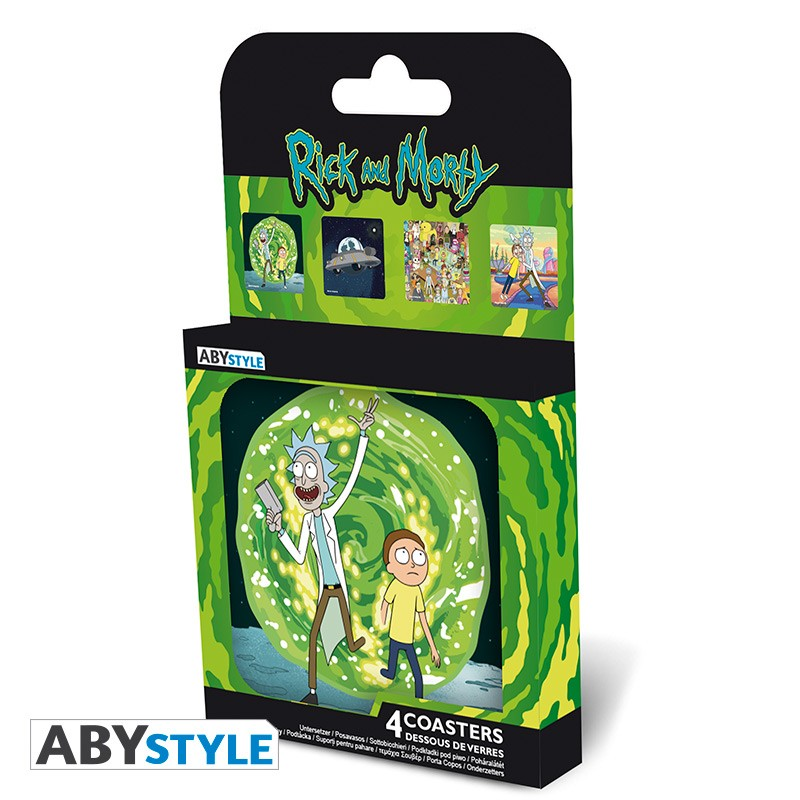 Rick and Morty Adult Swim Licensed Cork Material Set of 4 Coasters
