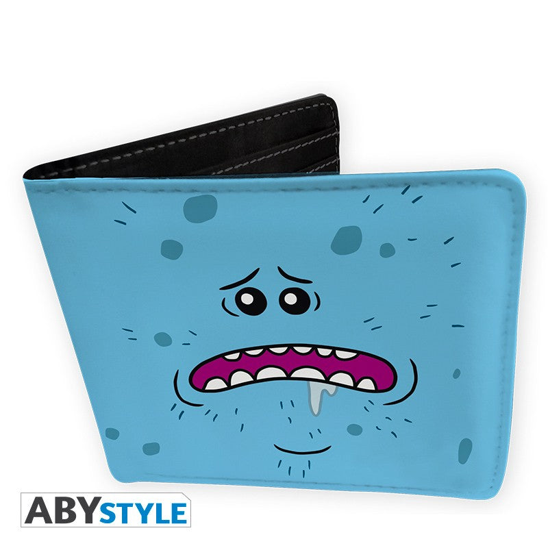 Mr. Meeseeks Existence is Pain Design Rick and Morty Licensed Light Blue Bi-Fold Vinyl Wallet Unisex