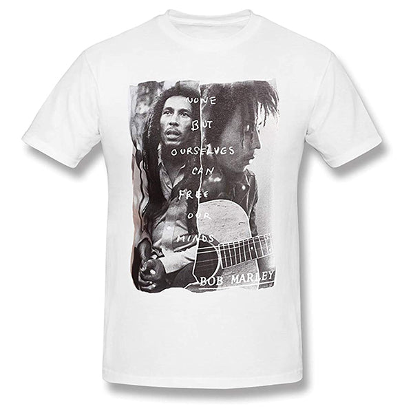 Bob Marley None But Ourselves Can Free Our Minds White Short Sleeve T-Shirt