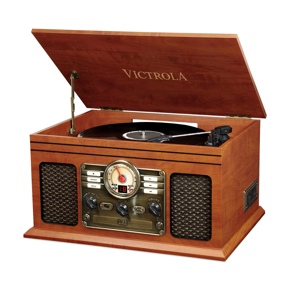 Victrola  VTA-200B 6-in-1 Nostalgic Classic Wood Bluetooth Record Player with 3-Speed Turntable, CD, Cassette Player and Radio Music Centre