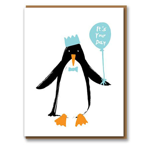 Penguin Birthday Letterpress Greetings Card