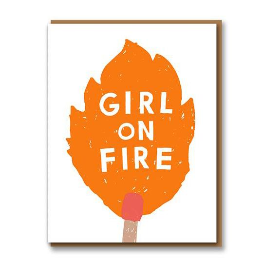 ** 	Girl On Fire Greetings Card