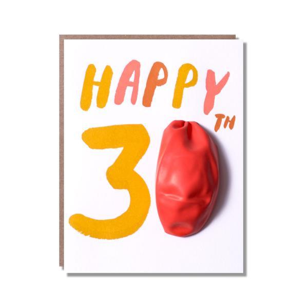 Age 30 Balloon Letterpress Greetings Card