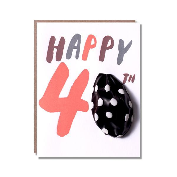 Age 40 Balloon Letterpress Greetings Card