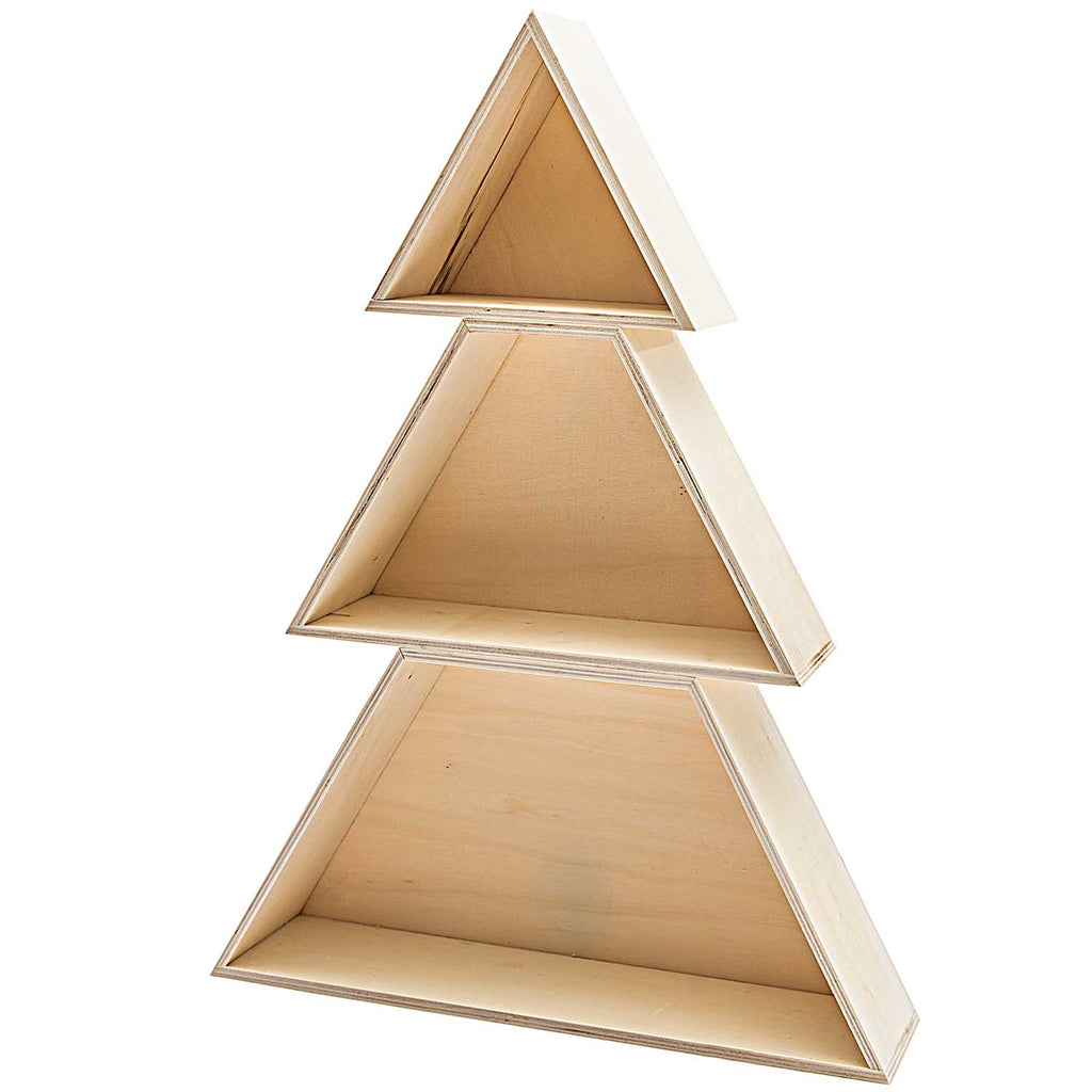 Wooden Stacking Christmas Tree Shelf Set