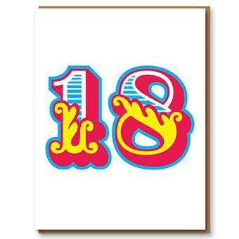 ** 	Age 18 Letterpress Greetings Card