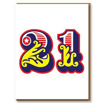 ** 	Age 21 Letterpress Greetings Card