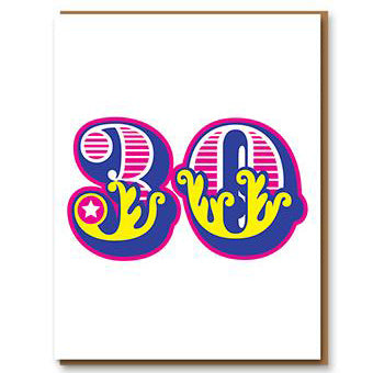 Age 30 Letterpress Greetings Card