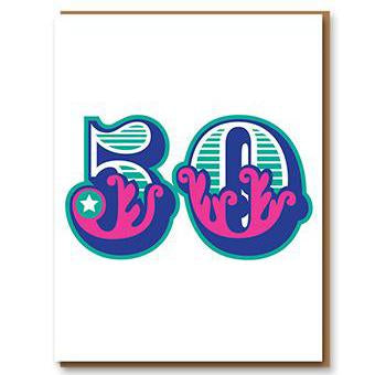 ** 	Age 50 Letterpress Greetings Card