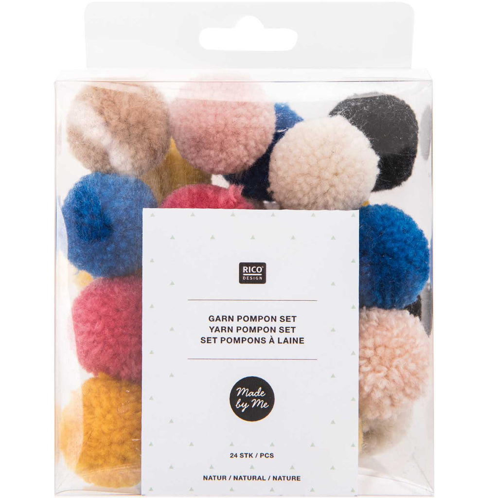Pack of Mini Yarn Pom-poms - Natural Mix