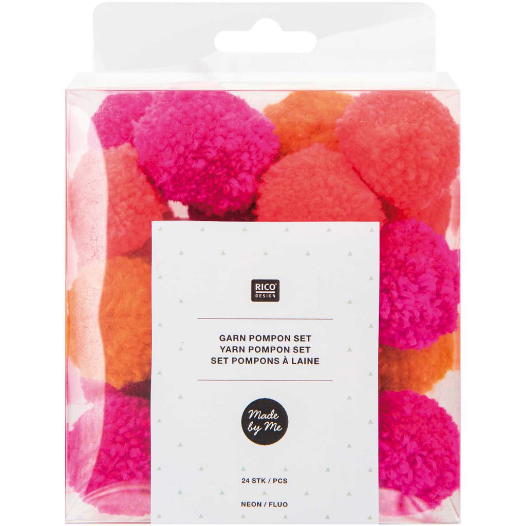 Pack of Mini Yarn Pom-poms - Neon Mix